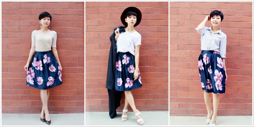 One floral skirt, three looks